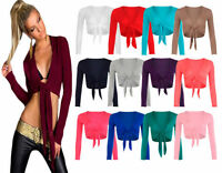 NEW WOMENS LADIES TIE UP CROP SHRUG WOMENS WRAP BOLERO CARDIGAN TOP SIZE UK 8-14