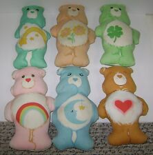 6 VINTAGE CARE BEAR STUFFED & HAND SEWN PILLOW DOLLS GOOD LUCK FRIEND 1980'S