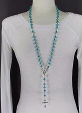 "Turquoise glass bead beaded rosary silver cross 30"" long necklace faux pearl"