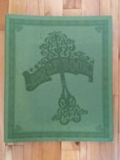 Vintage Antique Empty Green Embossed Scrapbook Album - 14.5x12 - 35 Paper Pages
