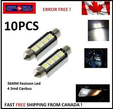 10 X CANBUS White 36MM 4 SMD LED 5050 Car Festoon Interior Light Bulbs Dome