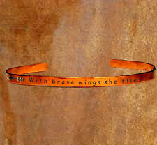 Arrow - With brave wings she flies - Stamped Cuff Stacking Bracelet Personalized