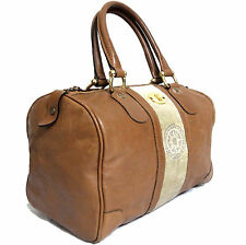Auth Vintage Roberta di Camerino Hand Bag Purse Brown Leather Velvet Made Italy