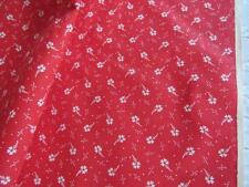 "Vtg Cotton TINY PRINT Red & White Calico Fabric 45"" x3+yds Quilting Craft Sewing"