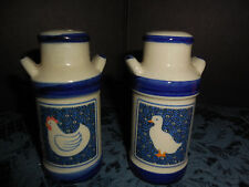VINTAGE? WATER CAN WITH ROOSTER & HEN CREME/BLUE SALT&PEPPER SHAKERS EUC