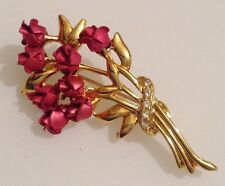 broche bijou couleur or bouquet de rose rouge cristaux diamant  3505