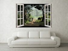 Misty Forest Scene 3D Full Colour Window Home Wall Art Stickers Mural Decal