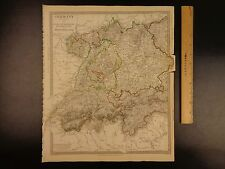 1844 BEAUTIFUL Huge Color MAP of Germany Bavaria Switzerland Tyrol ATLAS