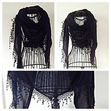 LADIES SCARF SHAWL TRIANGLE PLAIN BLACK LACE EDGING NEW GIFT WEDDING/HOLIDAY
