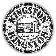 "Kingston City Jamaica Grunge Travel Stamp Car Bumper Sticker Decal 5"" x 5"""