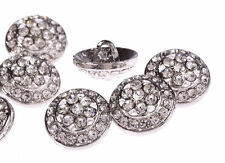 DB10-18s 10pcs Diamante Faceted Crystal Buttons Diamante Silver Rhinestone