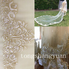 Luxury Beading Pearls Bridal Wedding Veil 2 Layers 3M Cathedral With Comb Veils
