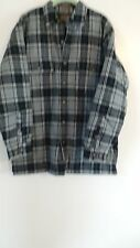 St Johns Bay Blue Grey Plaid QUILTED LINED Cotton Flannel Shirt Jacket Size M