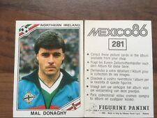 Panini mexico 86 1986 Copa del Mundo 281 mal Donaghy Irlanda del Norte sin usar