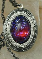SALE Mexican Fire Dragons Breath Glass Opal Gunmetal Victorian Locket Necklace