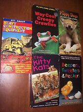 Heavy Equipment & Itty Bitty Kiddy VHS Tapes Cats Dogs Birds Creepy Crawlies