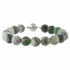 925 Sterling Silver Ball Clasp Bracelet / Natural 10mm Round Moss Agate 7.5""