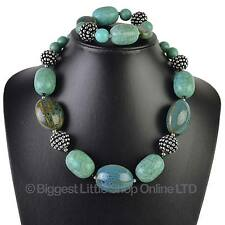 NEW Ladies Chunky Turquoise Statement Matching NECKLACE & BRACELET Set Holiday