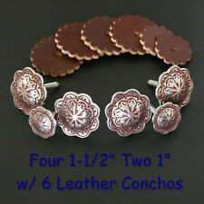 Jeremiah Watt Saddle Trim Conchos - Wood Screw Back w/ Leather Conchos_BURGUNDY