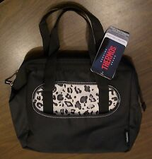 Thermos Insulated Leakproof Zippered Lunch bag Cooler Duffle B&W Leopard *NEW*