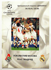Programme Locomotive MOSCOW Russia REAL MADRID Spain 2001/2002 Champions League