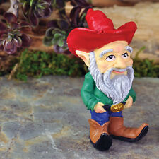Cowboy Gnome  Archie  w/ Stake Miniature Garden  Faerie Fairy Gnome Hobbit 17240