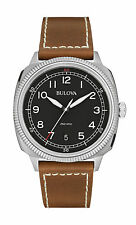 Bulova Men's 96B230 Military Black Dial Brown Leather Watch