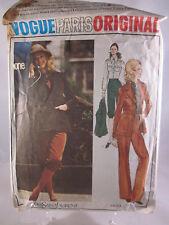 Vogue Paris Original Yves Saint Laurent Pattern 2653 Size 8 Cut Jacket Pants etc