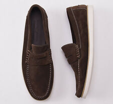 NIB $665 LUCIANO BARBERA Chocolate Brown Calf Suede Loafers US 9 D Shoes
