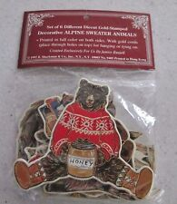 NWT 6 Vintage Shackman Die-Cut Ornaments Christmas Animals n Sweaters Gold Stamp