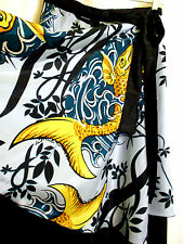 KOI FISH Chinese Print Vintage 2 Layer Wrap Skirt Black Blue Teal Gold  ONE SIZE