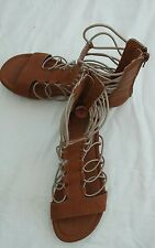 mia size 7 womans brown gladiator back zipper beige elastic string flat sandles