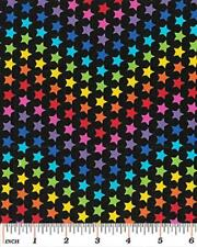 Fat Quarter Star Bright Colourful Stars 100% Cotton Quilting Fabric On Black