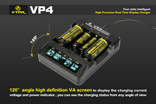 XTAR VP4 Intelligent LED 4-Channel Li-ion Battery Charger 100~240V UK 18650