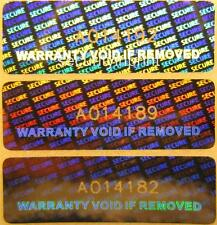 "350 ""WARRANTY VOID IF REMOVED"" Hologram Security stickers +serial nos R3010-1SSN"
