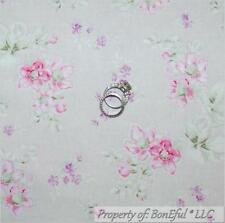 BonEful FABRIC FQ Cotton Quilt Gray Purple Pink VTG Flower Victorian Shabby Chic