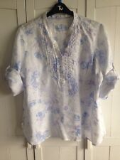 Marks & Spencer size 20 Ladies White Linen Blouse Top