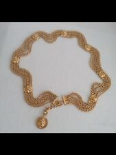Authentic CHANEL Rare Stamped Vintage Gold Plated Lion Belt