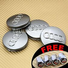 4 Silver Car Wheel Centre Hub Cap Emblem Badge Logo 60mm for AUDI US USA SELLER