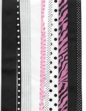 15 yards Pink and Black grosgrain ribbon mix, a must have for your stash