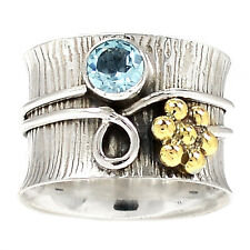 Two Tone - Blue Topaz 925 Sterling Silver Ring Jewelry s.6.5 SR205834