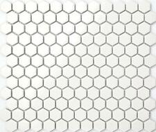 1 SQ M White Hexagonal Gloss Ceramic Mosaic Wall & Floor Tiles Bathroom MT0089