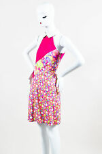 Versus Versace Pink/Purple/Off-White Cotton Floral Sleeveless Dress SZ 46