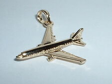 14K YELLOW GOLD 3D AIRPLANE PLANE PENDANT CHARM