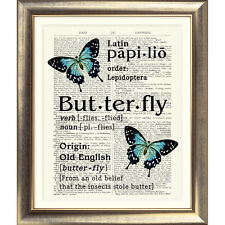 ART PRINT ON ORIGINAL ANTIQUE BOOK PAGE Dictionary Vintage Butterfly Picture