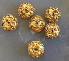Vintage Gold Plated Heavy Solid Metal Etruscan Textured Fancy Bead Cap Findings