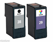 LEXMARK 18C1429E COLOUR INK NO 29 + 18C1428E BLACK INK CARTRIDGE 28 REFILLED