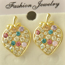 Hot Yellow Gold Plated rainbow Swarovski Crystal Strawberry cute Stud Earrings