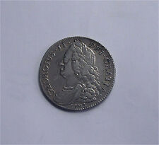 1745 Great Britain silver half crown GEORGE II Decimo Mono edge Lima VF