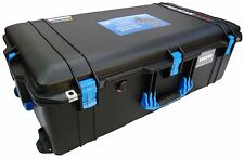 Black with Blue Handles & latches Pelican 1615 Air case With Foam.  With wheels.